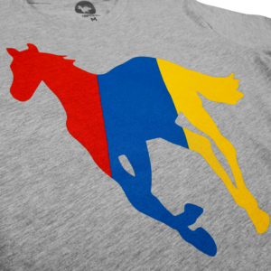 Technicolor Pony on Heather Grey T-Shirt
